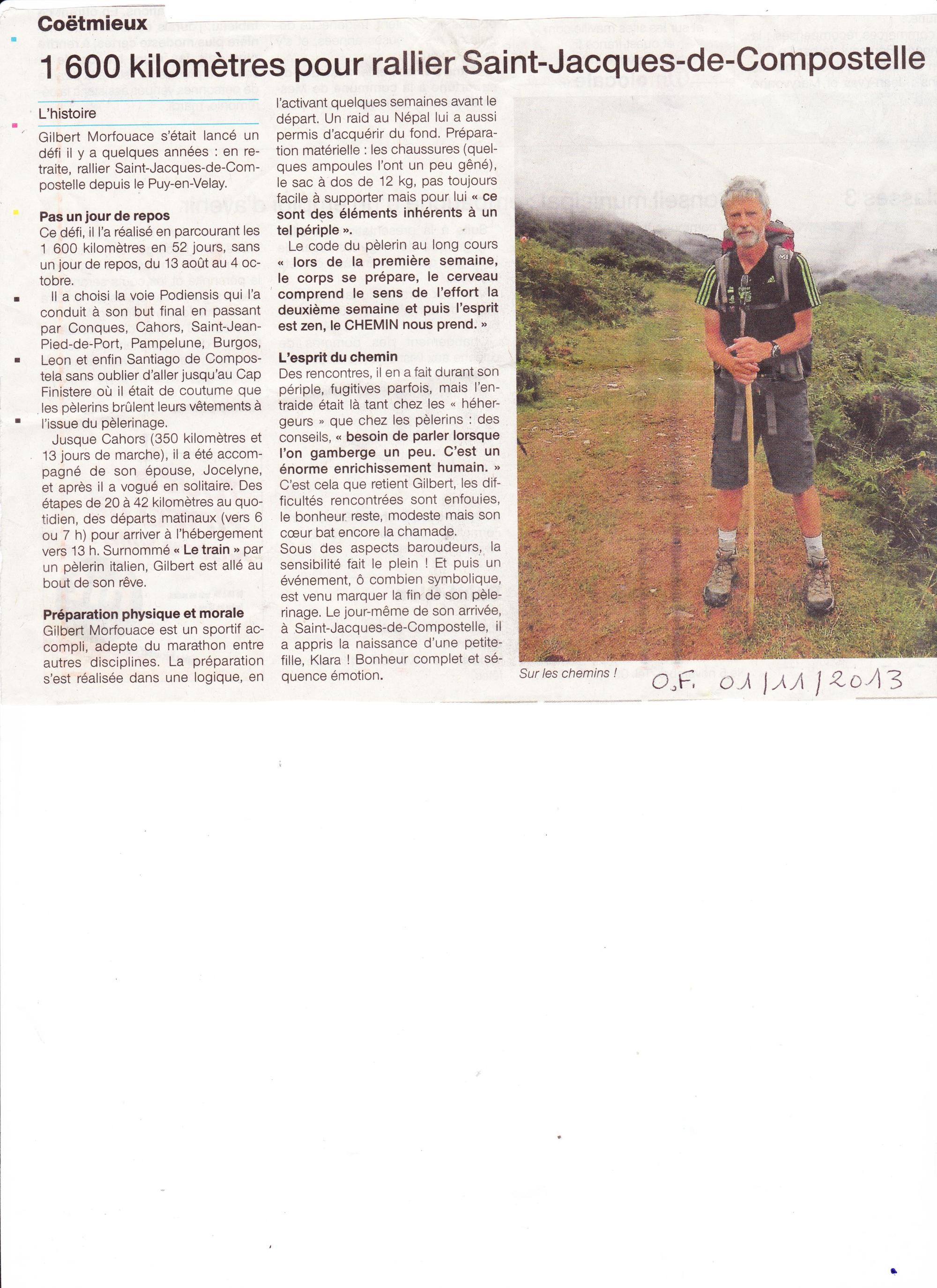 article du Ouest France 2013